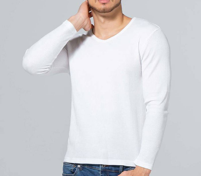 ワッフルの長袖Tシャツのイメージ