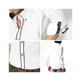 メンズスタイルの白シャツ